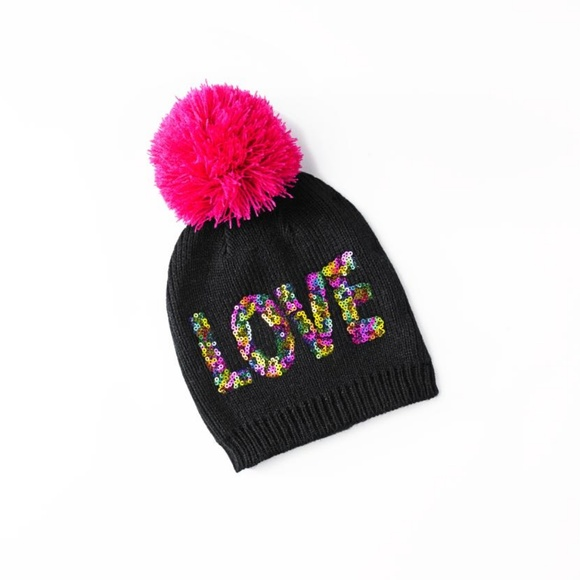Betsey Johnson Trolls Love Sequin Pom Pom Hat 3f72886b8da